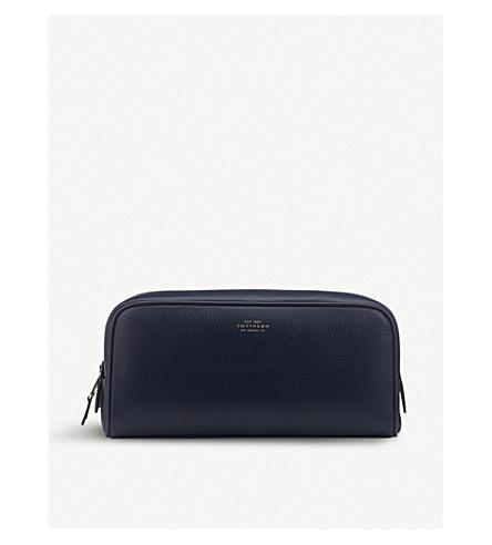 SMYTHSON Burlington leather large washbag (Navy