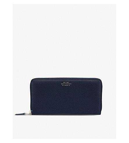 SMYTHSON Burlington leather large zip purse (Navy