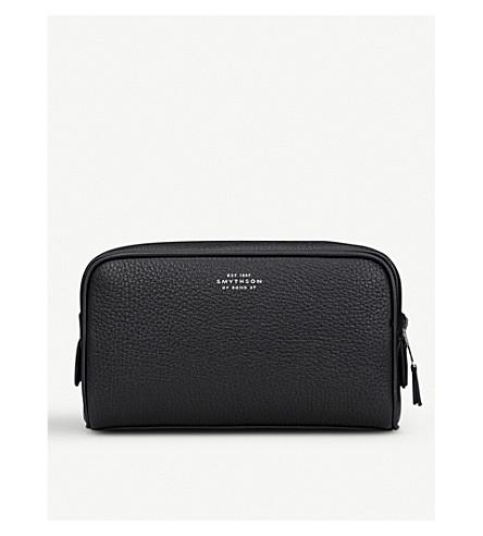 SMYTHSON Burlington leather small washbag (Black