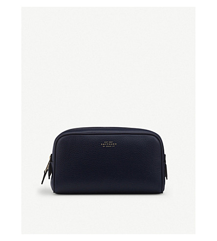 SMYTHSON Burlington leather small washbag (Navy