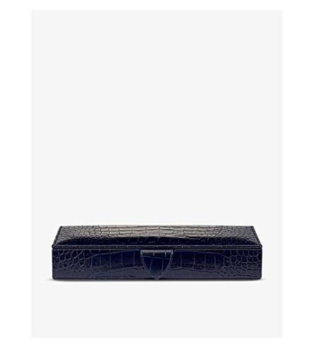 SMYTHSON Mara leather cufflink box (Navy