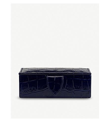SMYTHSON Mara mini leather cufflink box (Navy