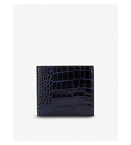 SMYTHSON Mara leather wallet with coin pocket (Navy
