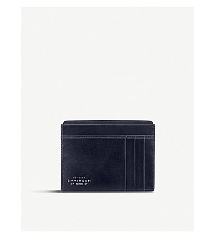 SMYTHSON Mara leather card and note holder (Navy