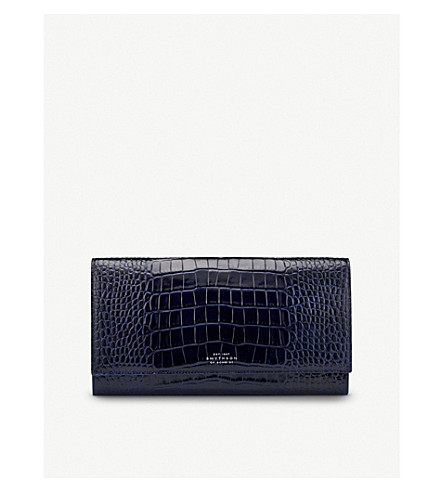 SMYTHSON Mara leather travel wallet (Navy