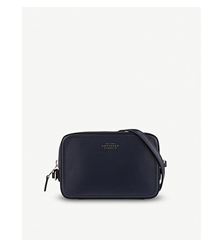 SMYTHSON Panama mini leather crossbody bag (Navy