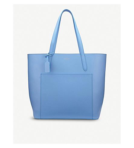 SMYTHSON Panama North South leather tote bag (Nile+blue