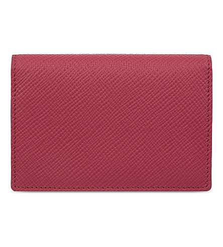 SMYTHSON Panama cross-grain leather card case