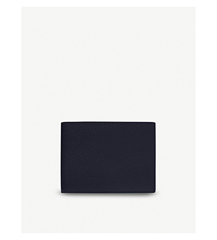 SMYTHSON Panama multi currency leather wallet (Navy