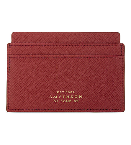 SMYTHSON Panama cross-grain leather card holder