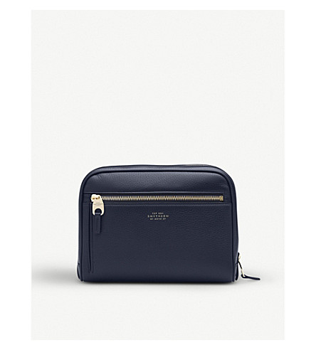 SMYTHSON Burlington deerskin washbag (Navy