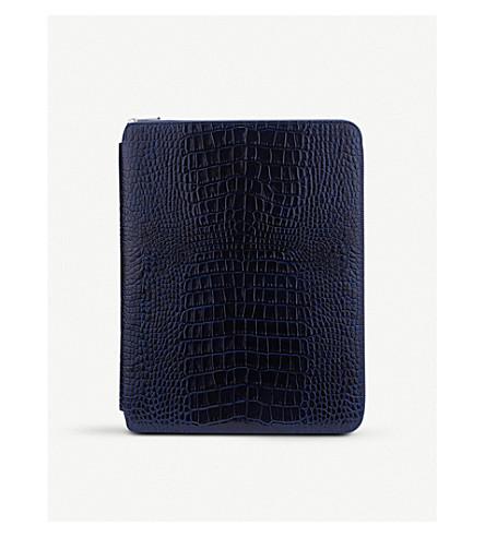 SMYTHSON Mara A4 crocodile-embossed leather writing folder (Navy