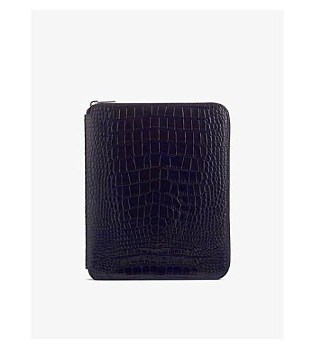 SMYTHSON Mara A5 crocodile-print leather writing folder (Navy