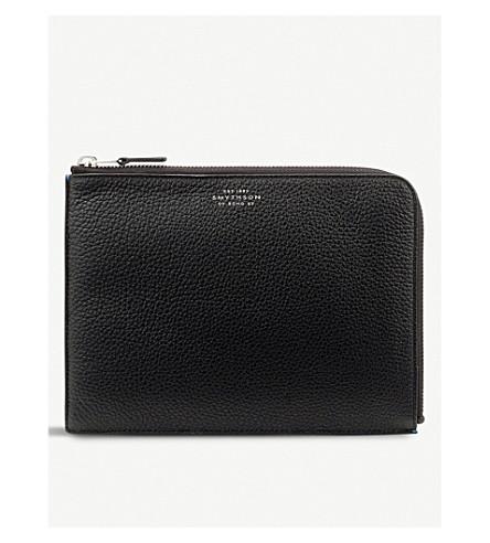 SMYTHSON Burlington medium leather pouch (Black