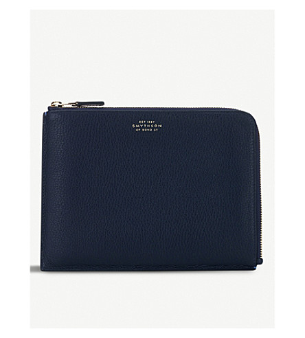 SMYTHSON Burlington medium leather pouch (Navy