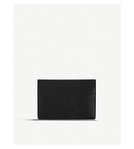 SMYTHSON Panama leather card case (Black