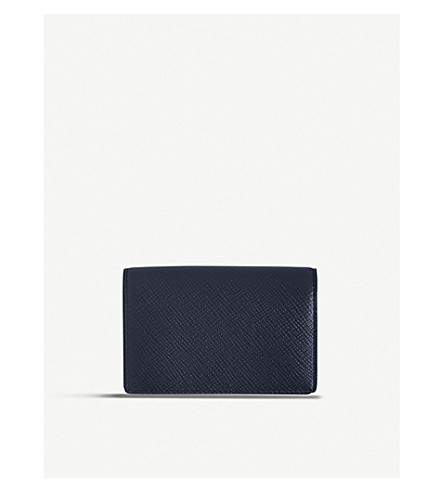 SMYTHSON Panama leather card case (Navy