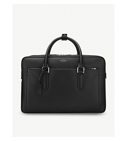 SMYTHSON Burlington 24 Hour leather travel bag (Black