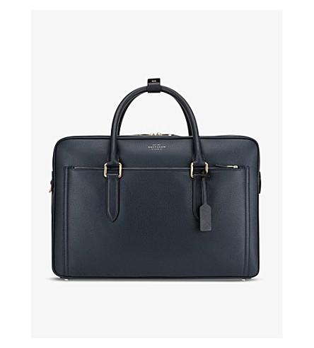 SMYTHSON Burlington 24 Hour leather travel bag (Navy