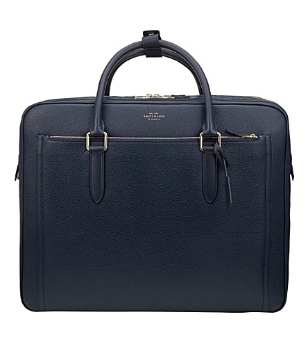 SMYTHSON Burlington 48 hour deerskin leather travel bag (Navy