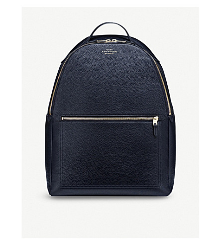 SMYTHSON Burlington zipped leather backpack (Navy