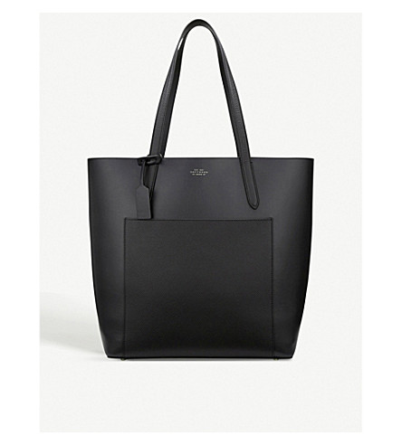 SMYTHSON Panama North South leather tote bag (Black