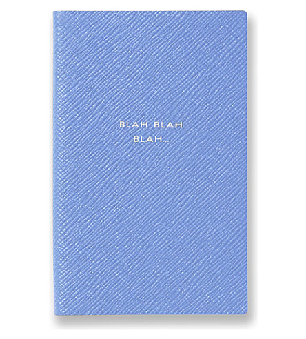 SMYTHSON 'Blah blah blah' panama leather notebook (Nile+blue