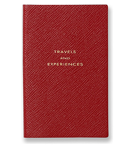 SMYTHSON 'Travels and experiences' panama leather notebook (Red