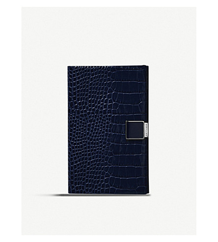 SMYTHSON Panama printed leather notebook (Navy