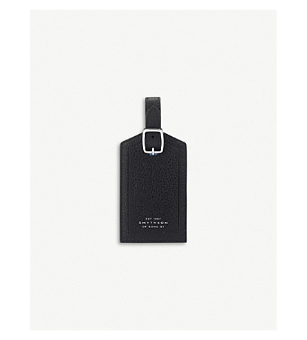 SMYTHSON Burlington leather luggage tag (Black