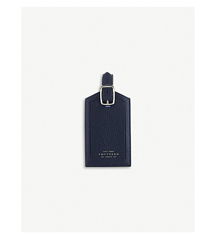 SMYTHSON Burlington leather luggage tag (Navy