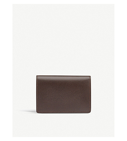 SMYTHSON Grosvenor leather business and credit card case (Brown