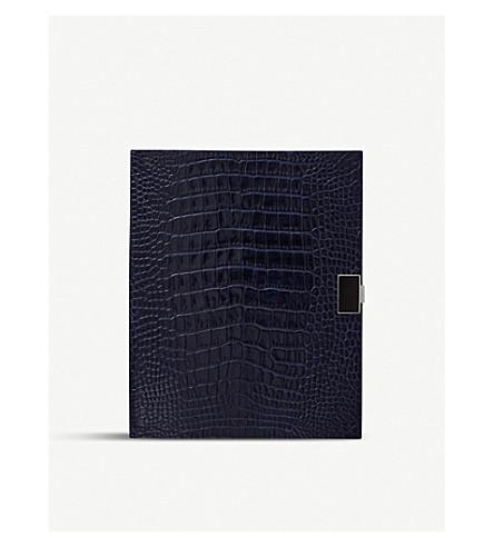 SMYTHSON Portobello leather notebook 26cm (Navy