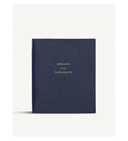 SMYTHSON Dreams and thoughts leather notebook (Navy