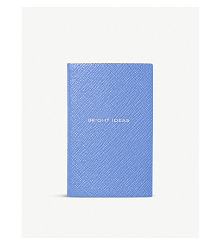 SMYTHSON Bright Ideas leather wafer notebook 10.5cm (Nile+blue