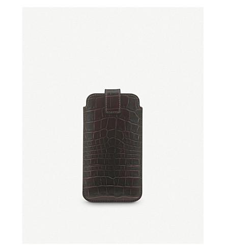 SMYTHSON Mara iPhone 7 Plus crocodile-embossed leather case (Brown