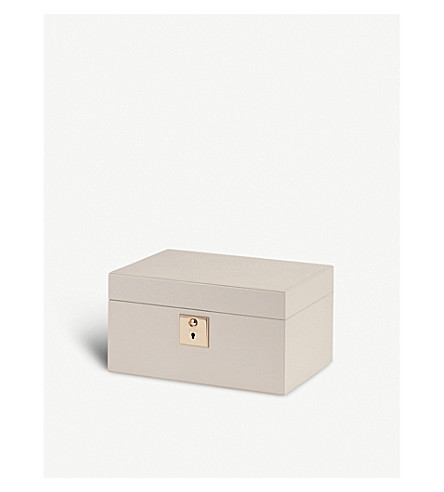 SMYTHSON Grosvenor leather jewellery box with travel tray (Chalk