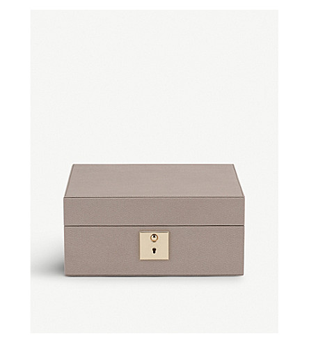 SMYTHSON Grosvenor lockable leather watch box (Dove+grey
