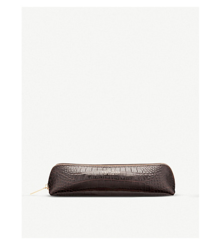 SMYTHSON Mara crocodile-printed calf leather pencil case (Brown