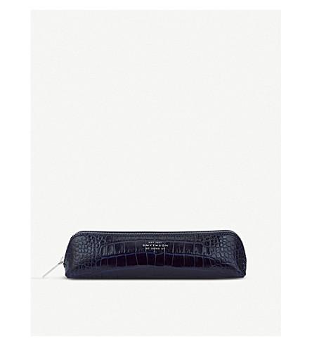 SMYTHSON Mara crocodile-printed calf leather pencil case (Navy