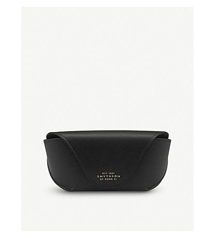 SMYTHSON Panama leather sunglasses case (Black