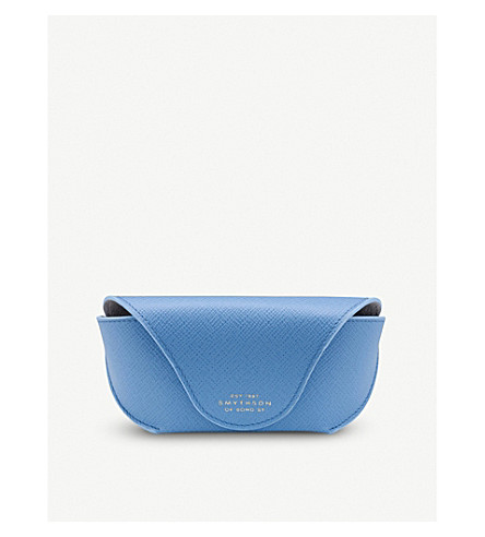 SMYTHSON Panama leather sunglasses case (Nile+blue