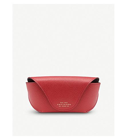 SMYTHSON Panama leather sunglasses case (Red
