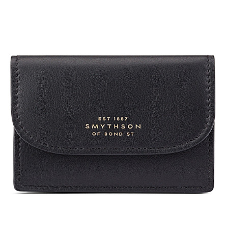 SMYTHSON Connaught leather business and credit card case (Black