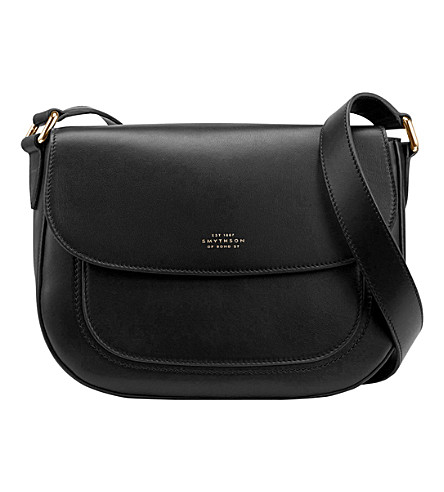 SMYTHSON Connaught calf leather saddle bag (Black