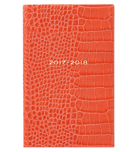 SMYTHSON Panama 2017-2018 mid-year crocodile-embossed leather diary 14cm (Poppy