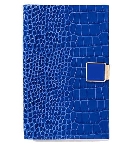 SMYTHSON Panama 2017/18 mid-year leather diary (Ocean+blue
