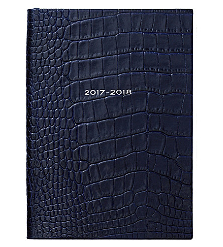 SMYTHSON Soho 2017/18 mid-year leather diary (Navy