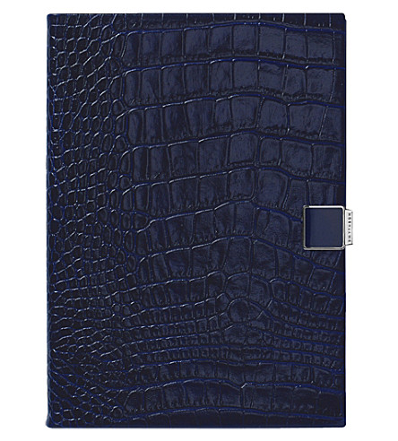 SMYTHSON Soho 2017-2018 mid-year crocodile-embossed leather diary 19cm (Navy