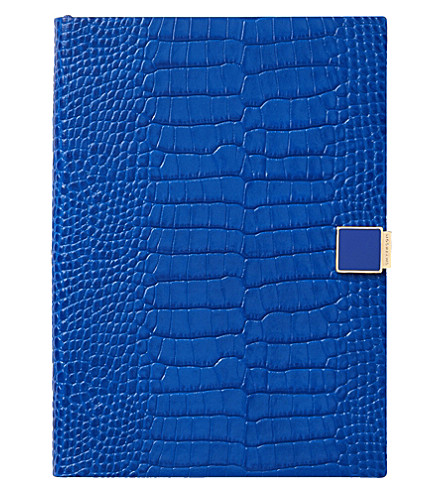 SMYTHSON Soho 2017-2018 mid-year crocodile-embossed leather diary 19cm (Ocean+blue